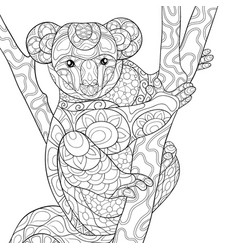 Adult coloring bookpage a cute koala bear on the vector