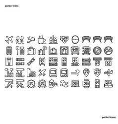 airport outline icons perfect pixel vector image