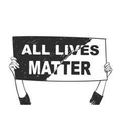 All lives matter hands holding mixed black vector