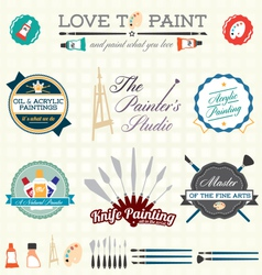 Artist Painter Labels and Icons vector