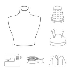 atelier and sewing outline icons in set collection vector image