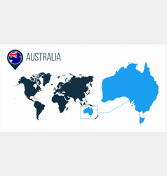 Australia map located on a world map with flag vector