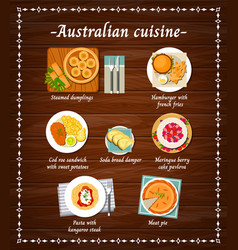 australian cuisine food menu dishes restaurant vector image
