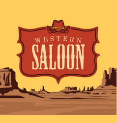 banner with western saloon emblem vector image