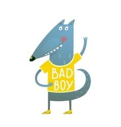 bawolf or dog character greeting wearing tee vector image
