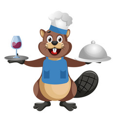 Beaver chef on white background vector