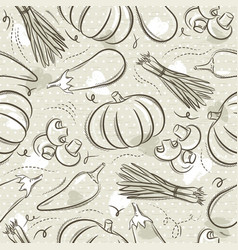Beige seamless patterns with vegetable pepper vector