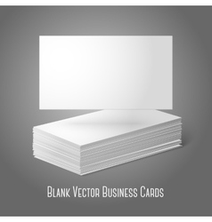 Blank business cards template Pile and one flat vector image