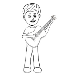 Boy playing guitar outline vector
