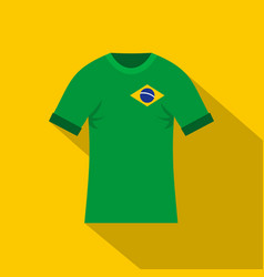 Brazilian yellow and green soccer shirt icon vector