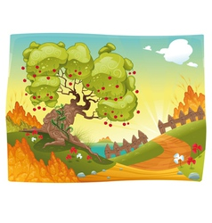 Bucolic landscape on the sea vector