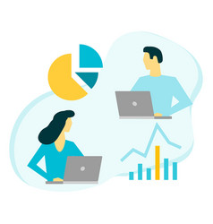 Businessman and business woman analyze data vector