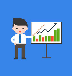 businessman presentation graph with pointer vector image