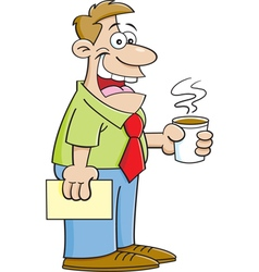 Cartoon man holding a cup of coffee vector image