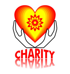 charity signboard design heart in yellow and red vector image