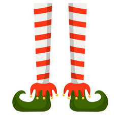 christmas elf legs in striped stockings vector image