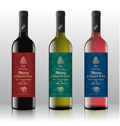 christmas greetings wine bottle labels concept vector image
