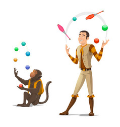 circus juggler and monkey juggling balls vector image
