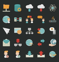 Communication icons with black background vector