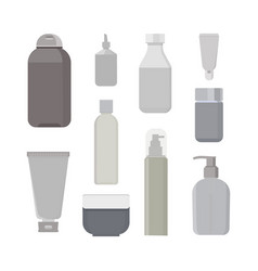 Cosmetic bottles set beauty shampoo bottle vector