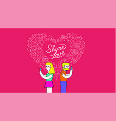 Couple on mobiles internet love concept art vector