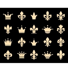 Crown and fleur de lis icons vector image