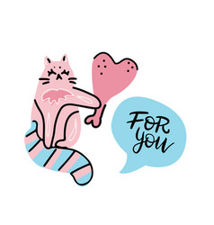 cute and funny pink cat character kitten gives a vector image