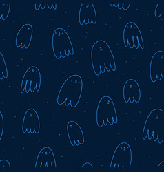 cute halloween ghosts seamless pattern vector image