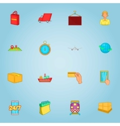 Delivery of cargo icons set cartoon style vector