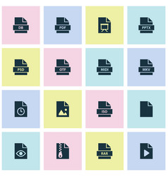 Document icons set includes icons such as midi vector