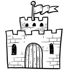 Doodle castle vector