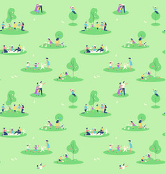 easter family people in spring seamless pattern vector image