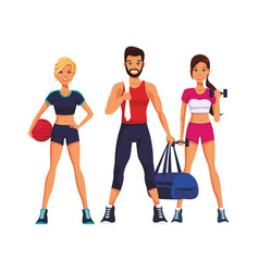 fit people doing exercise vector image