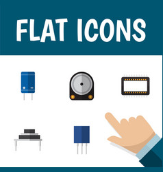 Flat icon device set of mainframe transistor hdd vector