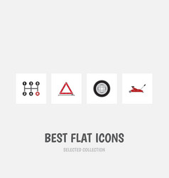 flat icon service set of tire warning carrying vector image