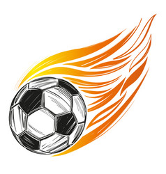 Football soccer ball flame sports game emblem vector