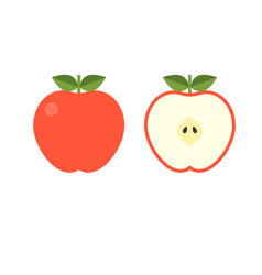 front and back view red apple half fruit vector image