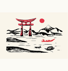 Fuji mountain red gates japan panorama ink brush vector