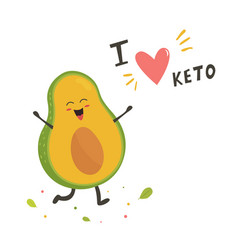 funny cute avocado character keto diet lover vector image