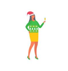 girl celebrating christmas woman in skirt sweater vector image