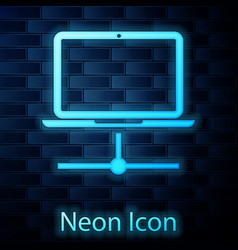 Glowing neon computer network icon isolated on vector