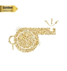 Gold glitter icon of whistle isolated on vector image