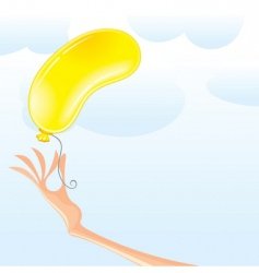 Hand with balloon vector