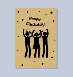 happy birthday postcard color vector image