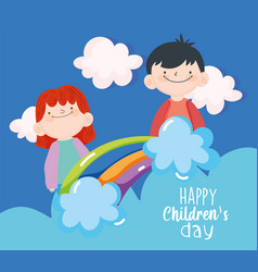 Happy children day cute little boys rainbow vector