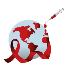 Hiv ribbon with planet and syringe design vector