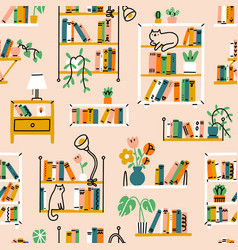 Home library aesthetic pattern vector