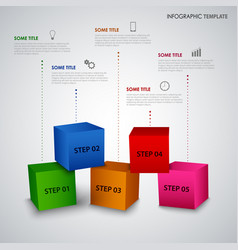 Info graphic with abstract colored cubes template vector