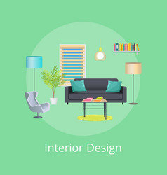 Interior design abstract room interior poster vector
