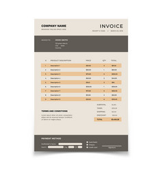 invoice template bill form with data table and vector image